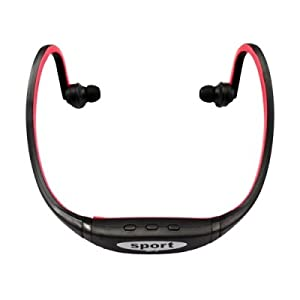Stylish Sport Headphone Mp3 Player Support Max 8GB TF Card Black + Red