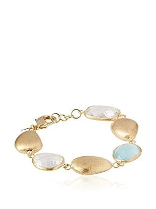 Rivka Friedman 18K Gold Clad Single Strand Caribbean Blue Quartzite Bracelet