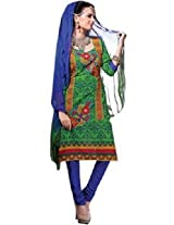 7 Colors Lifestyle Green Coloured Cotton Unstitched Churidar Material - ADTDR2005HYBY