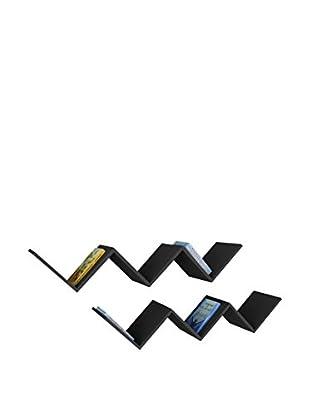 Dekorister Regal 2er Set Zig Zag schwarz 22x129x50cm