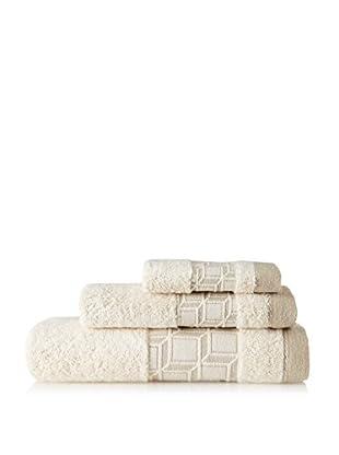 Belle Epoque 3 Piece Jacquard Blocks Towel Set, Natural Linen