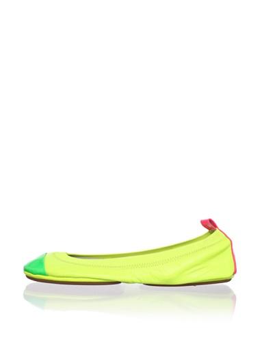Yosi Samra Women's Colorblock Ballet Flat (Lemon/Pink/Lime)