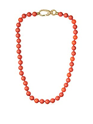 CZ by Kenneth Jay Lane Fancy CZ Pink Lobster Beaded Necklace