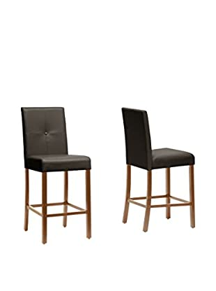 Baxton Studio Set of 2 Curtis Modern Counter Stools, Dark Brown
