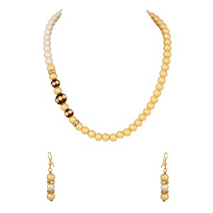 Voylla Pearl with Cz Studded Round Dholki Trio, Yellow Beads Necklace for Women