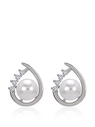 Divas Diamond Pendientes Gemstone Pearl Plata