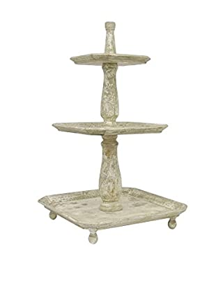 Three Hands 3-Tier Wood Stand, Ivory