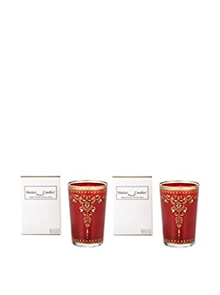 Market Street Candles Set of 2 Rose Scented Moroccan Henna Candles, Red