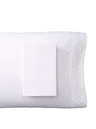 Westport Linens Set of 2 Victoria Embroidered Standard Pillowcases, White