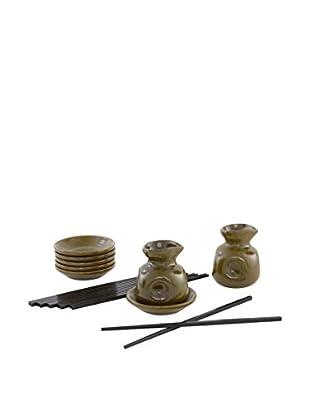 D&V Green Stoneware Dipping & Serving Set, Green/Black