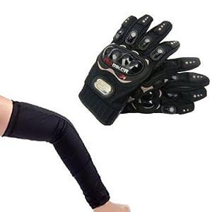 Combo of Universal Arm Sleeve & Bike Riding Gloves - Black