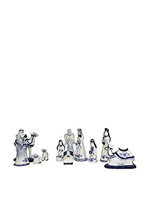 Kurt Adler Porcelain Delft Blue Nativity Set