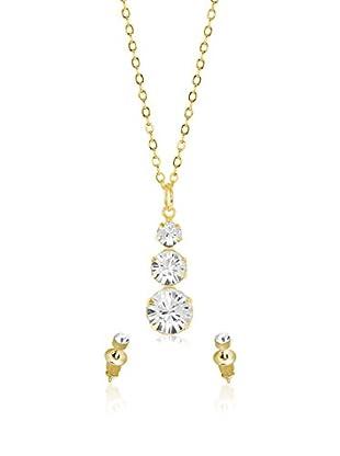 Shiny Cristal Conjunto de cadena y pendientes  metal bañado en oro 24 ct / Blanco