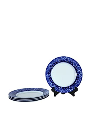 Set of 4 Flow Blue Turin By JB Dinner Plates, Blue/White