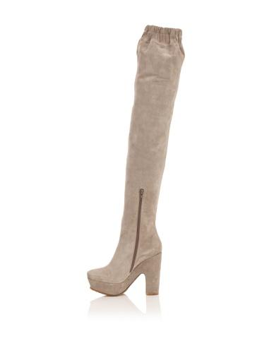 Pura Lopez Women's Over-The-Knee Platform Boot (Light Grey)