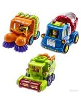 WolVol (Set of 3) Push and Go Friction Powered Car Toys, Street sweeper truck, Cement mixer truck, Harvester toy truck - Great Gift Toys for Boys