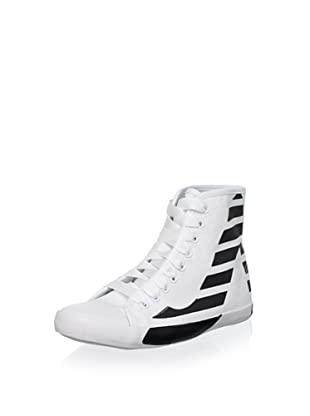 Be&D Women's Striped Sneaker (White/Black)