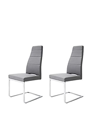 Whiteline Ville Set of 2 Dining Chairs, Gray