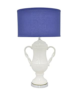 Three Hands Teapot Ceramic Lamp, White/Blue