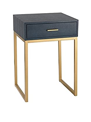Artistic Lighting Shagreen Side Table, Navy/Gold