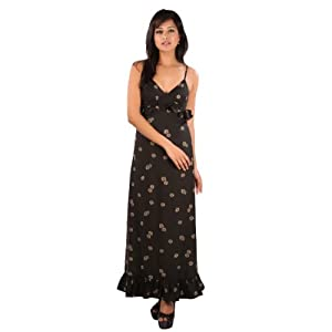 Ladybug Printed Maxi With Ruffles | Colour: Black Print | Fabric: Viscose Jersey |