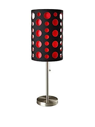 ORE International Modern Retro Table Lamp, Black/Red