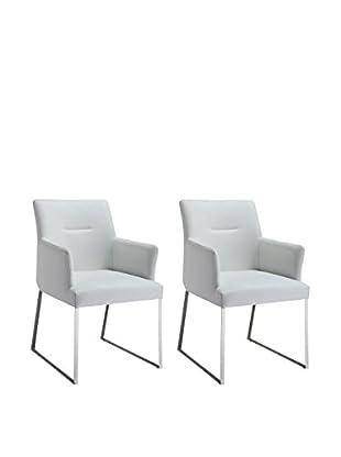 Whiteline Larry Set of 2 Dining Armchairs, White