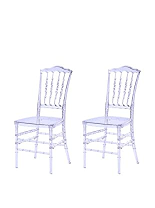 Manhattan Living Set of 2 Acra Dining Chairs, Clear