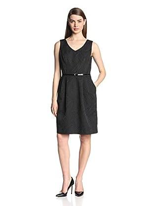Ellen Tracy Women's Sleeveless V-Neck Belted Dress