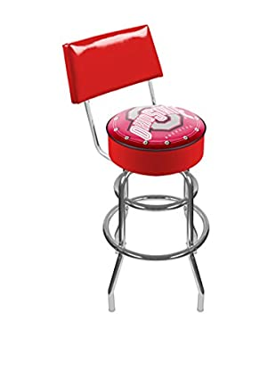 Trademark Global The Ohio State University Padded Bar Stool with Back, Red