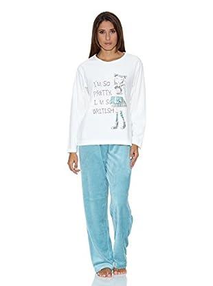 Muslher Pijama Señora Con Cuello Redondo Estampado Niña Pantalon A Rayas (Crudo)
