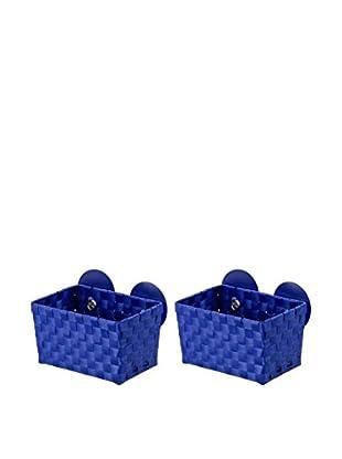Wenko Aufbewahrungskorb 2er Set blau 20,5 x 14,5 x 14