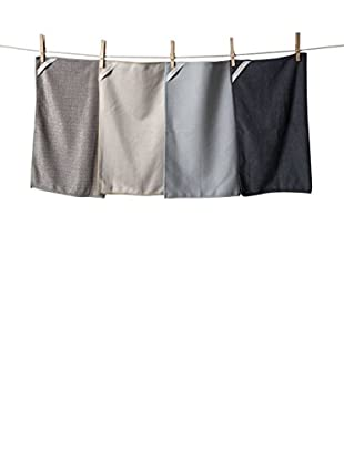 KAF Home Set of 4 Microfiber Cleaning Cloths, Multi