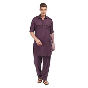 Shree Men Purple Pathani Kurta Pyjama Set