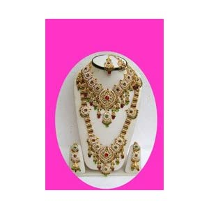 Red Stone Studded Bridal Necklace Set