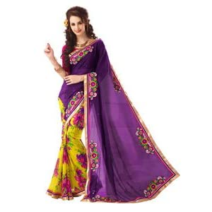 Sarees - Sensational Purple & Yellow Georgette Bandhej Embroidered Saree