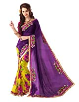 Hitansh Fashion Sensational Purple and Yellow Georgette Bandhej Embroidered Saree - 1117