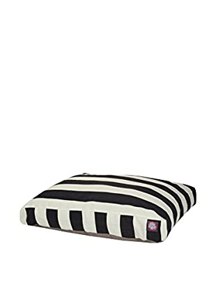 Vertical Stripe Small Rectangle Pet Bed, Black