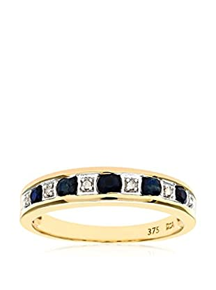 Revoni 9Ct Yellow Gold Ladies Diamond And Sapphire Ring Revsrppr03027Ysa-H