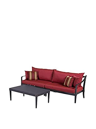 RST Brands Astoria Sofa & Coffee Table Set, Red