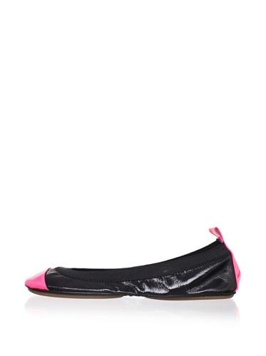 Yosi Samra Women's Patent Two-Tone Ballet Flat (Black/pink)