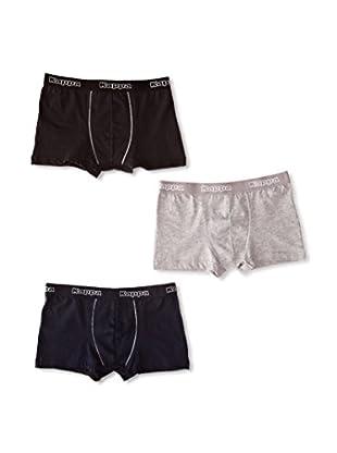 Kappa Pack x 3 Boxers Cadete (Negro / Gris / Marino)