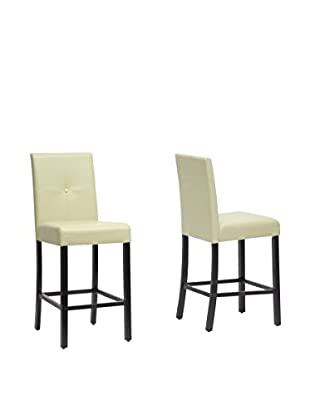 Baxton Studio Set of 2 Curtis Modern Counter Stools, Cream