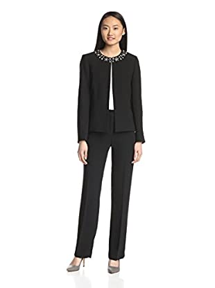 Tahari by ASL Women's Crepe Pant Suit with Studs