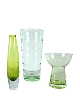 Set of 3 Vintage Lime Green Vases