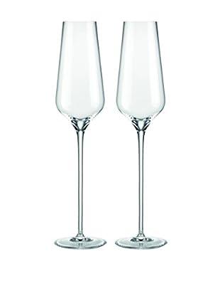 Rogaška Set of 2 Aurea Champagne Flutes, Clear