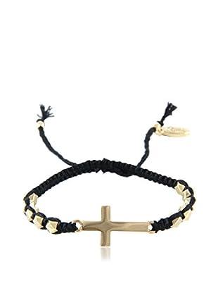 Ettika Black & 18K Gold-Plated Beaded Crossfire Bracelet