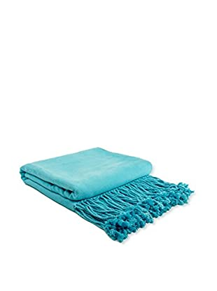 PÜR Cashmere Rayon From Bamboo Velvet Throw, Aqua
