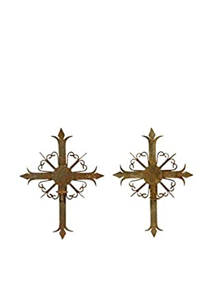 Uptown Down Found Set of 2 Wall-Mounted Cross Candle Sconces