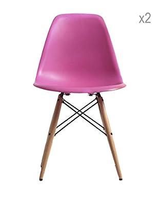 Lo+deModa Set De 2 Sillas Wooden New Color Collection Rosa